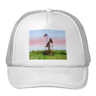 Oil Pump With American Flag Trucker Hat