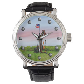 Oil Pump With American Flag Wrist Watches
