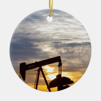 Oil Pumper At Sunrise Vertical Image Ceramic Ornament