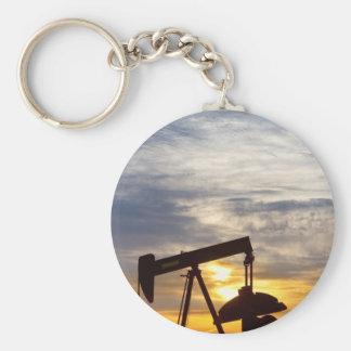 Oil Pumper At Sunrise Vertical Image Key Chain