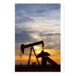 Oil Pumper At Sunrise Vertical Image Post Cards