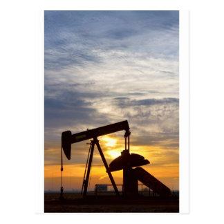 Oil Pumper At Sunrise Vertical Image Postcard