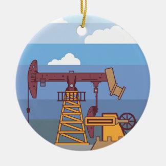 Oil Pumping Rig Ceramic Ornament