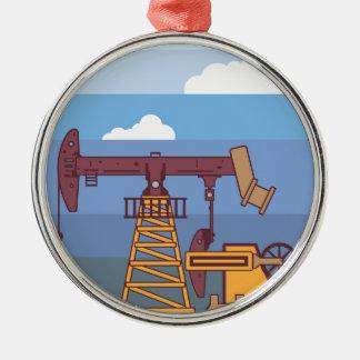 Oil Pumping Rig Metal Ornament