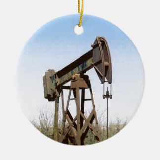 Oil Pumping Rig Double-Sided Ceramic Round Christmas Ornament