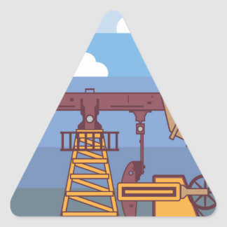 Oil Pumping Rig Triangle Sticker