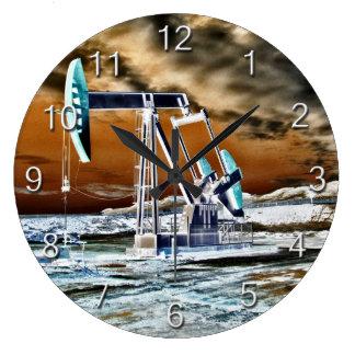 Oil Pumpjack Vivd Colors Large Clock