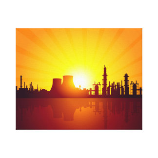 OIL REFINERY INDUSTRY AT MORNING CANVAS PRINT