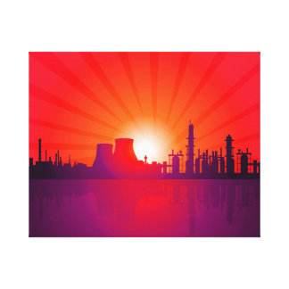OIL REFINERY INDUSTRY AT SUNSET TIME CANVAS PRINT