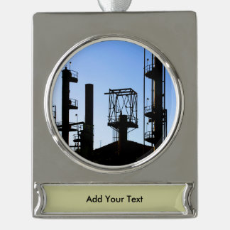 Oil Refinery Silver Plated Banner Ornament