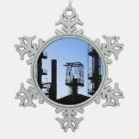 Oil Refinery Snowflake Pewter Christmas Ornament