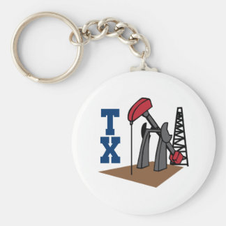 OIL RIG AND TEXAS BASIC ROUND BUTTON KEYCHAIN