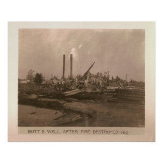 Oil Rig Destroyed by Fire, Kilgore, TX 1931 / 32 Poster