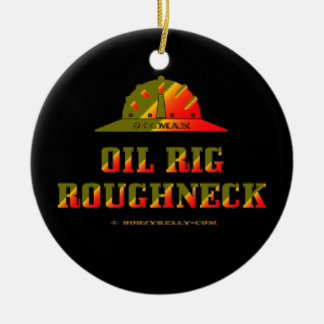 Oil Rig Roughneck,Oil Field Trash,Oil,Gas,Rigs Double-Sided Ceramic Round Christmas Ornament