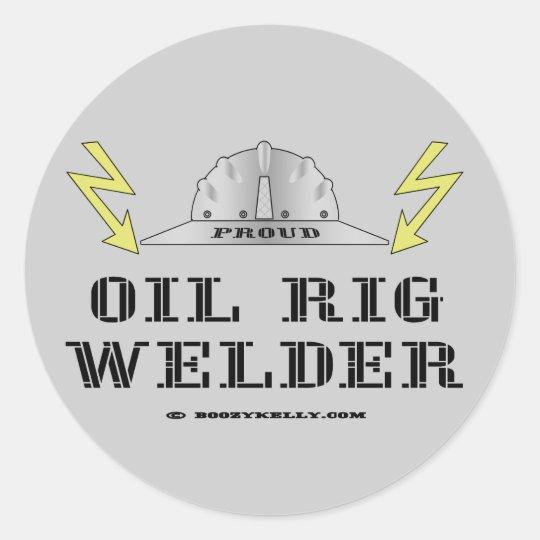 Oil Rig Welder,Blue Collar Sticker,Offshore Oil Classic Round Sticker