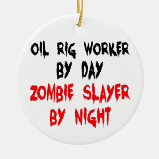 Oil Rig Worker Zombie Slayer Double-Sided Ceramic Round Christmas Ornament