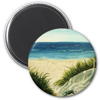 oil sand dunes beach art  painting 2 inch round magnet