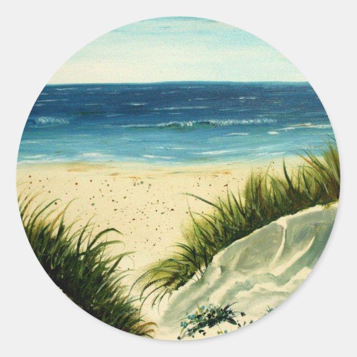 oil sand dunes beach art  painting classic round sticker