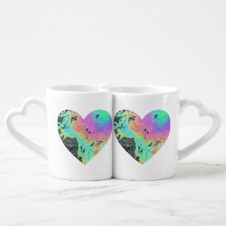 Oil Slick Heart Coffee Mug Set