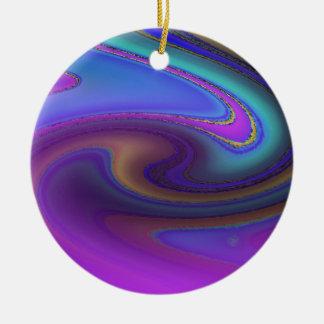 Oil Slick Rainbow Fade Ceramic Ornament