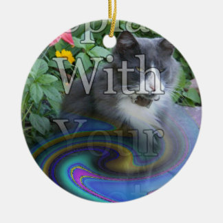 Oil Slick Rainbow Fade Double-Sided Ceramic Round Christmas Ornament