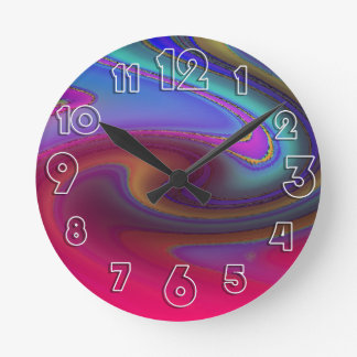 Oil Slick Rainbow Fade Round Clock
