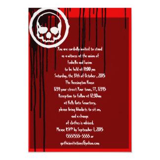 Oil Slick Skull Rockabilly Goth Wedding 5x7 Paper Invitation Card