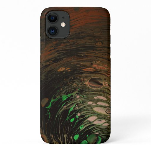 Oil Spill Acrylic Pour Painting Orange and Green iPhone 11 Case