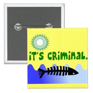 """Oil Spill Gulf Coast """"it's Criminal"""" Dead Fish 2 Inch Square Button"""