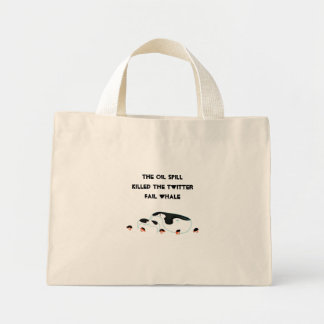Oil Spill whale Canvas Bags