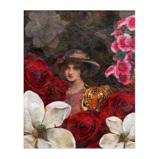 Oil Textured Roses Tiger Woman Acrylic Wall Art
