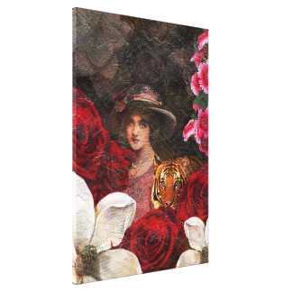 Oil Textured Roses Tiger Woman Canvas Print