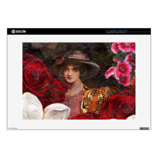 "Oil Textured Roses Tiger Woman Decal For 15"" Laptop"
