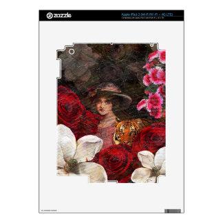 Oil Textured Roses Tiger Woman iPad 3 Skin