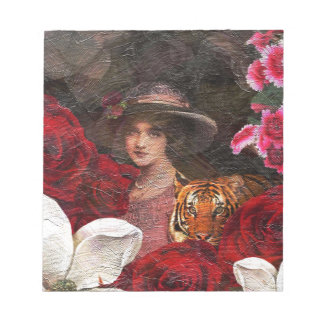 Oil Textured Roses Tiger Woman Note Pad