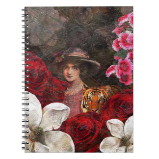 Oil Textured Roses Tiger Woman Spiral Notebook