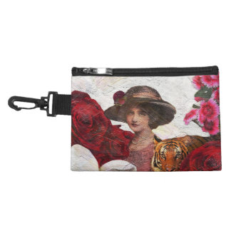 Oil Textured Vintage Woman Tiger Accessory Bag