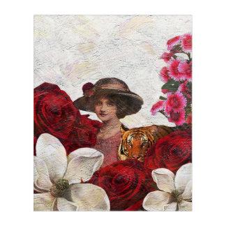 Oil Textured Vintage Woman Tiger Acrylic Print
