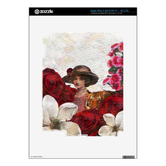 Oil Textured Vintage Woman Tiger Decal For iPad 3