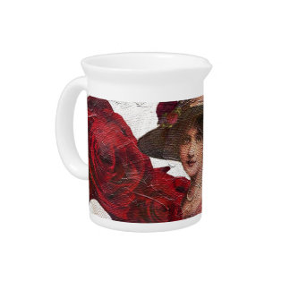 Oil Textured Vintage Woman Tiger Drink Pitchers