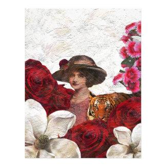 Oil Textured Vintage Woman Tiger Letterhead