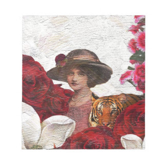 Oil Textured Vintage Woman Tiger Notepad