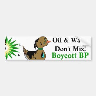 Oil & Water Don't Mix Boycott BP Bumper Sticker Car Bumper Sticker
