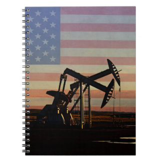 Oil Well and American Flag Spiral Notebook