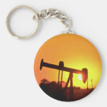 Oil well pump at sunset, Illinois, U.S.A. Keychains