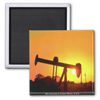 Oil well pump at sunset, Illinois, U.S.A. Magnets