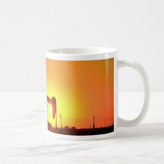 Oil well pump at sunset, Illinois, U.S.A. Classic White Coffee Mug