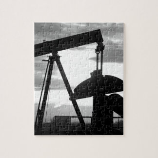 Oil Well Pump Jack Black and White Jigsaw Puzzle