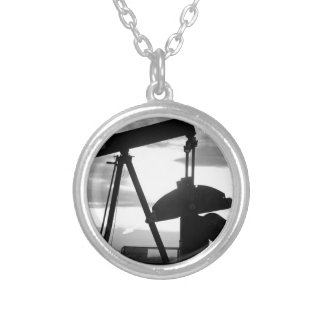Oil Well Pump Jack Black and White Silver Plated Necklace