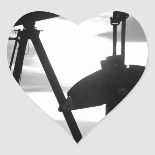 Oil Well Pump Jack Black and White Heart Sticker